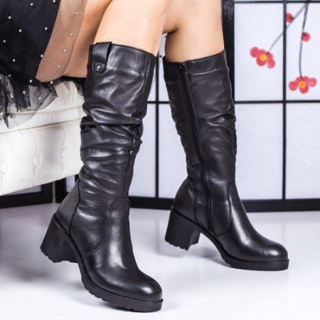 Cizme dama inalte cu toc negre Malibia-rl imagine