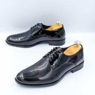 Pantofi barbati Piele eleganti negri lac Pesilo imagine