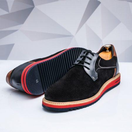 Pantofi barbati casual Piele negri Ambir imagine
