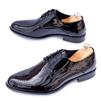 Pantofi barbati eleganti Piele negri lac Bigovo imagine
