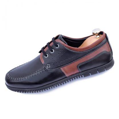 Pantofi casual barbati Piele negri cu maro Malkal -rl imagine