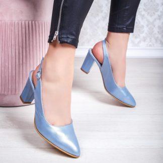 Pantofi cu toc Piele albastri dama Ineria-20 imagine