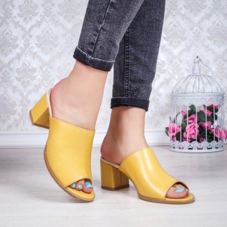 Papuci cu toc Piele galbeni Torita imagine