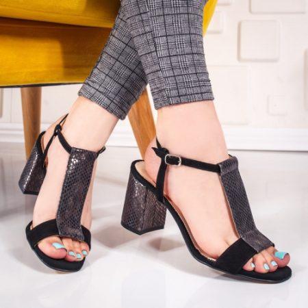 Sandale Piele Ciomi negre cu toc imagine