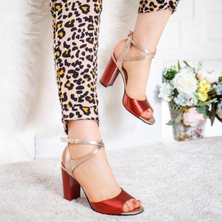 Sandale Piele Limolo rosii cu auriu imagine