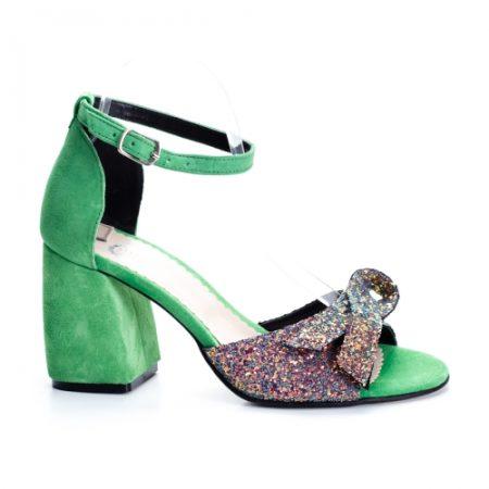 Sandale Piele Marivoli verzi cu toc imagine