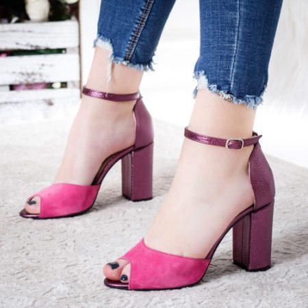Sandale Piele Matila roz cu toc imagine