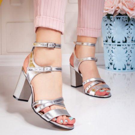 Sandale Piele Nimali argintii cu toc imagine