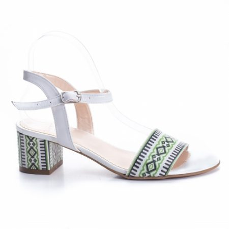 Sandale Piele Olicasi albe cu toc imagine
