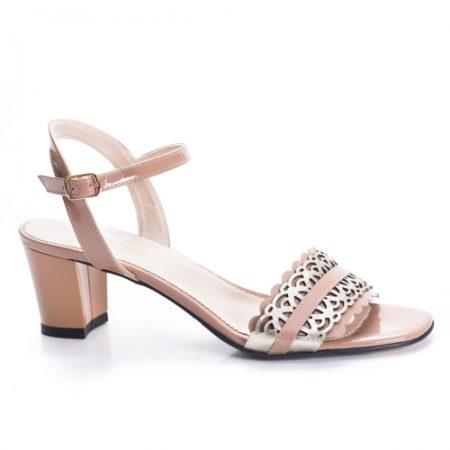 Sandale Piele Revali nude cu toc imagine