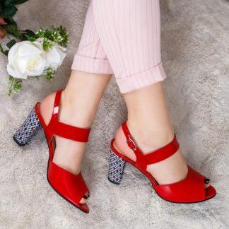 Sandale Piele Rozmin rosii cu toc gros imagine