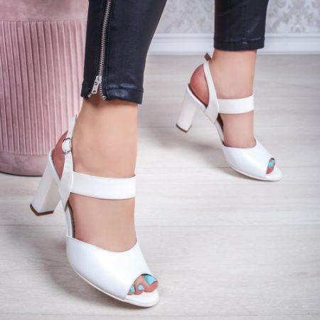 Sandale Piele dama cu toc albi Rozmin-20 imagine