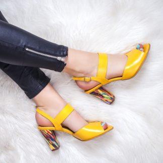 Sandale Piele dama cu toc galbene Rozmin-20 imagine