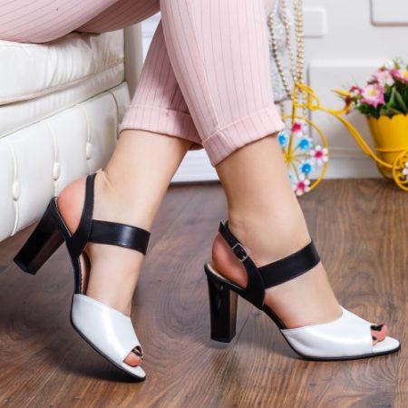 Sandale cu toc dama piele naturala negre cu alb Rozmin imagine