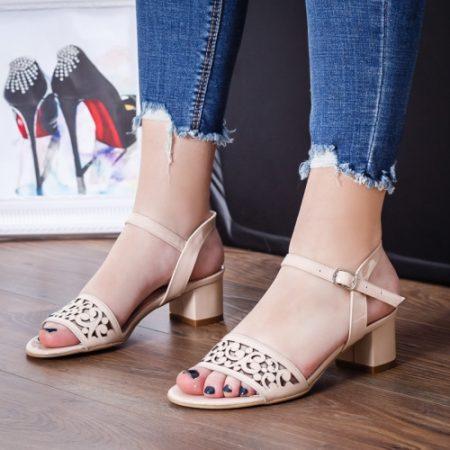 Sandale dama Piele Aruli bej cu toc imagine
