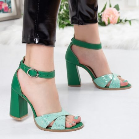 Sandale dama Piele Galida verzi cu toc imagine